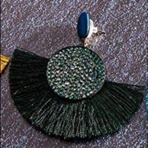 Hunter Green tassel earrings